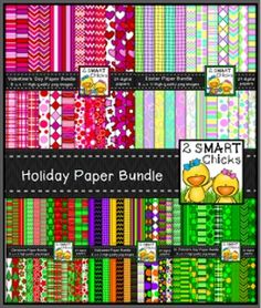 BUNDLE AND SAVE OVER 20%!!! Now you can beautify your products all year long with our festive Holiday Background Paper Bundle! This set includes a whopping 116 digital papers!Our Holiday Bundle contains the following sets:ChristmasValentines DayHalloweenEasterSt.