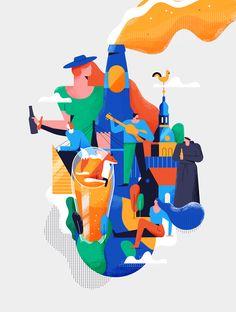 Riga Pours on Behance City Illustration, People Illustration, Graphic Design Illustration, Digital Illustration, Creative Illustration, Ms Project, Dashboard Design, Fun At Work, Grafik Design
