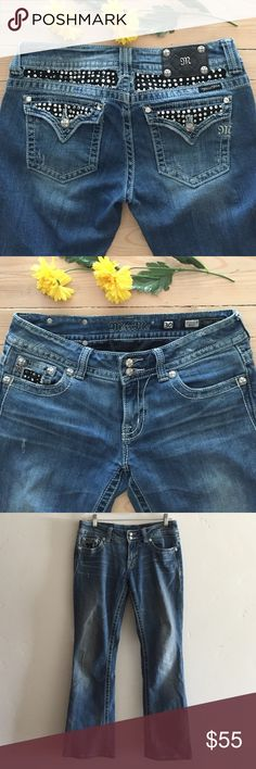 """Miss Me Boot Cut Jeans 🌼 Miss Me bootcut jeans with beautiful rhinestone embellishments.  No wear on bottom of legs.  Inseam is 30"""".  In excellent condition. Miss Me Jeans Boot Cut"""