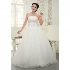 $90.16 Graceful Beading and Rhinestone Embellished Strapless Ball Gown Wedding Dress For Bride