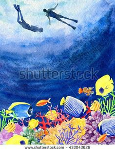 Watercolor kit - Under the Sea Sea Life Art, Sea Art, Under The Sea Drawings, Under The Sea Images, Sea Murals, Coral Painting, Watercolor Kit, Coral Watercolor, Sea Illustration