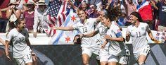 U.S. teammates, from left to right, Tobin Heath (17), Alex Morgan (13), Lauren Holiday (12), Carli Lloyd (10) and Ali Krieger (11) celebrate a goal against Japan, on Sunday, July 5, 2015. (Jonathan Hayward/The Canadian Press via AP)