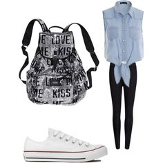 Last Day Of School by alexissimons on Polyvore featuring polyvore, fashion, style, Ted Baker, Converse and Victoria's Secret