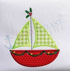 Christmas Sailboat Applique - 4 Sizes!   What's New   Machine Embroidery Designs   SWAKembroidery.com East Coast Applique
