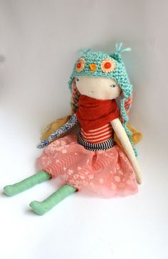 "little lu sweet pixie girl doll - 13""ish rag doll, cloth doll stuffed with 100% wool, wool hair, crochet owl hat in pale blue"