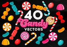 40 Candy Vector Set Graphics CANDY SET** vectors candy set 8 candies, 5 colors---- 100 Scalable Vector Files- Editabl by gabicotza Candy Watch, Candy Drawing, Creative Sketches, Paint Markers, Pencil Illustration, Flat Color, Business Card Logo, Watercolor And Ink, Vector File