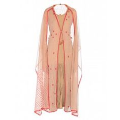 Salmon Peach Embroidered Cape Jacket Suit