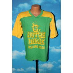 Notre Dame Fighting Irish Green Yellow Jersey Tshirt vintage 1970s - 1980s by nodemo