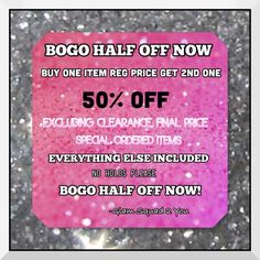 BOGO 50% OFF ALL WEEKEND THIS WEEKEND...BUY ONE ITEM AT REGULAR PRICE AND GET A 2ND ONE OF EQUAL OR LESSOR VALUE 50% OFF. LOTS OF NEW SPRING SUMMER ITEMS TO CHOOSE FROM! EXCLUDES: CLEARANCE, FINAL MARKDOWN, AND SPECIAL ORDERED ITEMS. GET YOU FAVORITES BEFORE THEY'RE GONE T&J Designs Accessories