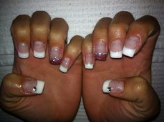 Pink and White Glitter Gel Nails with Bling