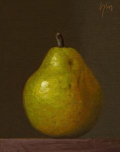 """""""D'Anjou Pear in Late Afternoon Light"""" oil painting by Abbey Ryan"""