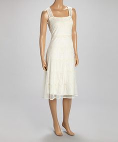Look what I found on #zulily! Off-White Beaded Dress by Papillon Imports #zulilyfinds