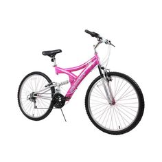 "Dynacraft Women's 26"" 21 Speed Air Blast Bike, 17.5""/One Size, Pink/White. Deluxe Paint. Shimano Derailleur. Dual Suspension. Includes Alloy Rims. Linear Pull Brakes."