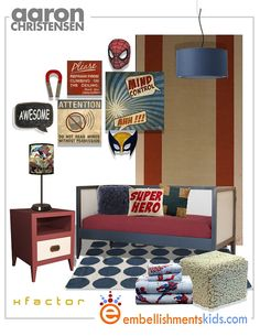 Superhero Boy's Room Idea Mood Board. Mind Control Wall Art by by EmbellishmentsStudio