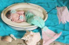 Newborn Upcycled Mermaid set by LovesPrettyPropsShop on Etsy, $60.00