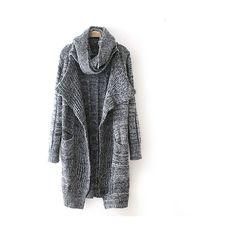 Dark Gray Midi-Length Knit Cardigan With Scarf 15CD00109 ($25) ❤ liked on Polyvore featuring tops, cardigans, dark grey, knit cardigan, long sleeve cardigan, cardigan top, long sleeve tops and dark grey cardigan