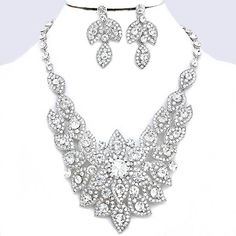 Clear Crystal Rhinestone Pave Flower Formal Evening Bridal Wedding Silver Chunky Necklace Set Elegant Costume Jewelry