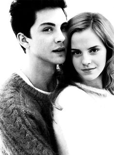 emma watson & logan lerman I love them!!!! .... Them and their little adorable knit sweaters❤❤❤