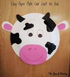 Paper Plate Cow Craft, Animal Craft, Craft for kids, Kids Craft, Easy Craft, Paper plate craft