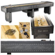 H-D® B Flames 12' Shuffleboard Table - Vintage Black
