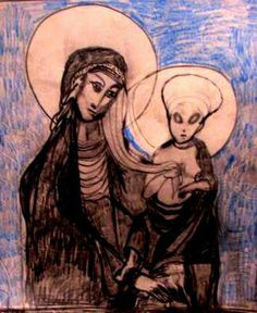 Madonna and Alien Child  pencil sketch  Gregory McLaughlin $35.00 purchase direct from artist  via Paypal  whateverway@comcast.net
