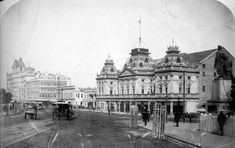 The Grand Hotel, now the Windsor Hotel dominates the distance, Princess Theatre in the foreground and the Burke and Wills sculpture, moved from its original position in Collins Street after the installation of the cable trams, is visible on the right. Melbourne Cbd, Melbourne Victoria, Victoria Australia, Old Pictures, Old Photos, Theatre Architecture, Windsor Hotel, Victorian Photos, World Images