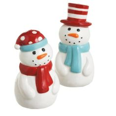 Snowman Salt and Pepper Shakers 27079 by Midwest. $12.00. New design for 2011. Ceramic. Makes a great gift. Acetate Window Gift Box. From Midwest we bring you the cutest retro styled snowman shakers. Dressed in caps and scarves they are ready to brave the cold. Man snowman is 3 1/2 inches high and the woman is 3 1.4 inches high. Set of 2. Simply adorable.. Save 29%!