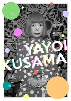 """""""Kusama and 60 Others"""" – a poster by #design grad Lilian Auduong linking Yayoi Kusama's work with other creatives."""