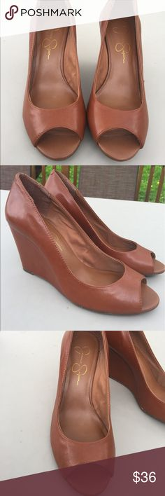 Women's Jessica Simpson Tan Leather Wedges 7M EUC Women's Jessica Simpson Tan Leather Wedges 7M EUC Jessica Simpson Shoes Wedges