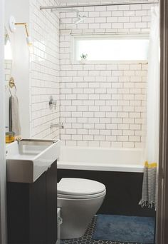 Vote for the Best Bath in the Remodelista Considered Design Awards: Amateur Category Craftsman Style Bathrooms, Bungalow Bathroom, Small Bathroom Tiles, Tiny Bathrooms, Vintage Bathrooms, Bathroom Renos, Amazing Bathrooms, Family Bathroom, White Bathroom