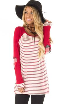 525a9f32e Lime Lush Boutique - Deep Red Striped Raglan Shirt with Plaid Heart Elbow  Patches