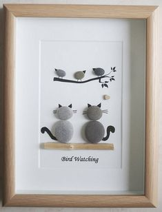Your place to buy and sell all things handmade,This is a beautiful small Pebble Art framed Picture of 2 Cats watching Birds- Bird Watching handmade by myself using Pebbles and Driftwood Size of Pic. Stone Pictures Pebble Art, Stone Art, Sea Glass Crafts, Sea Glass Art, Stone Crafts, Rock Crafts, Cat Crafts, Caillou Roche, Art Encadrée