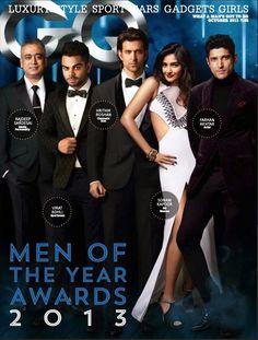 Sonam Kapoor   Hrithik Roshn   Farhan Akhtar   Virat Kohli on The Cover of GQ Magazine - October 2013.