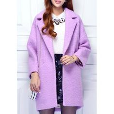 Elegant Long Sleeve Lapel Neck Worsted Coat For Women from $31.96 by NASTYDRESS