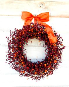 SUNSET ORANGE & RED Wreath-Summer Wreath-Fall Door Wreath-Rustic Home Decor-Scented Cran-Orange Spice-Custom Choose Scent and Ribbon