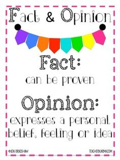 Fact and Opinion FREEBIE!  Improve Comprehension Skills.