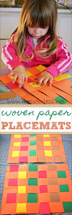 Woven Paper Placemats are great for Thanksgiving. Making them reinforces fine motor skills while creating a beautiful pattern. Woven Paper Placemats are great for Thanksgiving. Making them reinforces fine motor skills while creating a beautiful pattern. Preschool Fine Motor Skills, Motor Activities, Holiday Activities, Preschool Activities, Time Activities, Preschool Projects, Art Projects, Paper Weaving, Thanksgiving Crafts