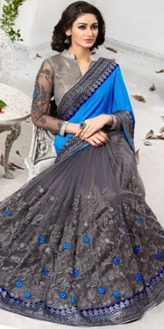 Marvelous Grey And Navy Blue Net Saree With Blouse.
