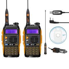 2 unids baofeng gt-3 markii doble banda 2 m/70 cm 136-174/400-520 mhz jamón de dos vías de radio walkie talkie + cable de programación y cd de software