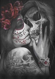 Dead Kiss Square Diamond Painting Product Description: At Pretty Neat Creative, we believe that noth La Muerte Tattoo, Catrina Tattoo, Sugar Skull Tattoos, Sugar Skull Art, Pretty Skull Tattoos, Sugar Skull Painting, Sugar Skull Sleeve, Chicano Tattoos, Body Art Tattoos