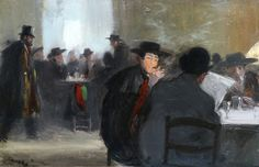 The Café (c.1910). Georges Bertin Scott (French, 1873-1942). Oil on panel. Leighton Fine Art. An exquisite pre-war painting of men in black reading and conversing in a café. Charismatic in its composition and brushed superbly. Scott was taught by Edouard Detaille. During World War I he was a war painter. He exhibited in Paris, at the Salon des Artistes Français, where he was a member from 1897.