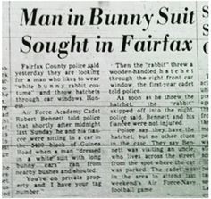 Old pictures of Fairfax county, love em! Bunny Man, Bunny Suit, Reston Virginia, Fairfax County, S Man, Wooden Handles, Old Pictures, Reading, Movie Gifs