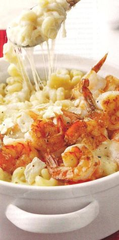 Did you ever think to add shrimp to your stir fried chhesy?    Cheese Fondue Casserole with Shrimp