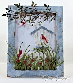 KC Poppy Stamps Carolina Birdhouse.   Great description of how Kitty created the weathered wood look.