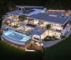 Dream home modern architecture House Rooms Luxury House Rooms iDeas Dream Home Design, Modern House Design, Beautiful Modern Homes, Dream Mansion, Mansion Interior, Luxury Homes Dream Houses, Modern Mansion, Dream House Exterior, Modern Architecture House
