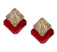 Tieback inspiration: Vintage inspired gold, diamond and crimson studs. Red Jewelry, Antique Jewelry, Jewelry Box, Jewelery, Vintage Jewelry, Accessories Shop, Wedding Jewelry, Vintage Fashion, Vintage Style