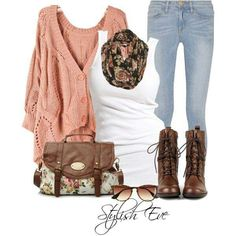 Love this combo for fall! Combat boots. Slouchy cardigan. Simple tank. Slim jeans. Printed scarf.