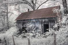 Photograph - Rush Mining District Arkansas Infrared Photography by Jane Linders , Infrared Photography, 5 Image, Artistic Photography, Ghost Towns, Wood Print, Great Photos, Arkansas, Fine Art America, Monochrome