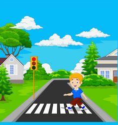Boy walking listening music vector image on VectorStock Kindergarten Rules, Preschool Homework, Kids English, English Lessons, Wuhan, Green Traffic Light, Oil Pastel Techniques, Transportation Theme Preschool, City Model