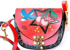 LEATHER BAG shoulder and belt bag ROCKABILLY cross body bag  cherry stars swallow via Etsy